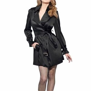 BEBE Black Shiny Satin Trench Coat Jacket Size XS